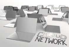 Projekta słowa ręka rysująca sieć, OBŁOCZNY 3d laptop i Zdjęcie Stock