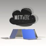 Projekta słowa ręka rysująca sieć, OBŁOCZNY 3d laptop i royalty ilustracja