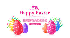 Projekta szablonu sztandar dla Szczęśliwej wielkanocy Plakatowa dekoracja barwiący kwiat i jajko Horyzontalna karta z logem Zdjęcia Royalty Free