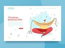 Projekta szczęśliwego nowego roku ilustracyjna młoda chłopiec dekoruje choinki Śliczny płaski charakter dla boże narodzenie sztan royalty ilustracja