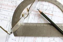 projekta szkieł ołówkowy kątomierz Zdjęcie Stock