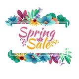 Projekta sztandar z wiosny sprzedaży logem Dyskontowa karta dla wiosna sezonu z bielu ziele i ramą Promocyjny oferta dowcip Obrazy Royalty Free