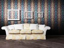 projekta wewnętrzny sceny kanapy biel ilustracji