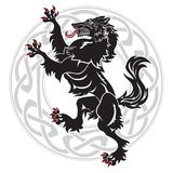 Projekta wilkołak i skandynawa ornament ilustracji