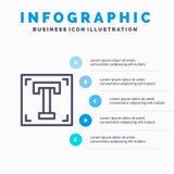 Projektant, chrzcielnica, ścieżka, program, tekst Kreskowa ikona z 5 kroków prezentacji infographics tłem ilustracji
