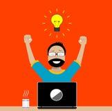 Projektant cieszy się sukces w swój aktywność ilustracja wektor