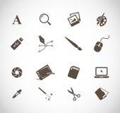 Projektant grafik komputerowych narzędzi ikony ustalony wektor Fotografia Stock