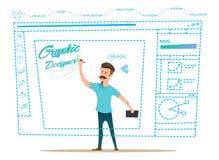 Projektant grafik komputerowych uprawomocnia projekt na prośbie Obrazy Royalty Free