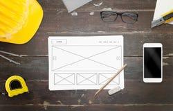 Projektant praca na strona internetowa pomysle Obrazy Stock