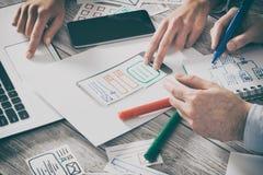 Projektant strony internetowej ux app rysunkowy rozwój Obrazy Stock