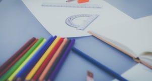Projektanta pracujący miejsce, ołówki na biurku Obraz Royalty Free