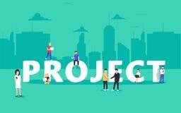 Projektera teamworkbegreppsillustrationen av affärsfolk som använder bärbara datorer och smartphones stock illustrationer