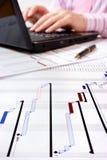 Projektgantt-Diagramm mit Laptop im Hintergrund Stockbilder
