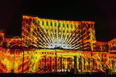 Projektion während IMAPP 2017 des Videodiagrammwettbewerbs, Bukarest lizenzfreie stockfotografie