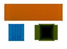 Projektionen des geöffneten und geschlossenen Behälters Stockfotografie