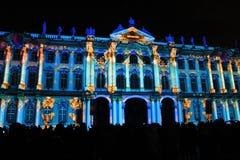 Projektionsanblick av att kartlägga 3D av det konsulterande laget för ljus händelse på festivalen av ljus royaltyfria foton