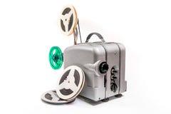 Projektor för tappningfilmfilm och rulle av filmen royaltyfri foto
