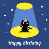 Projektorlicht in der schwarzen Katze der netten Karikatur der Zirkusshow mit Hut Kaninchen mit einem Geschenk Flaches Design Stockbild
