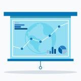 Projektorskärm med grafen 3d business dimensional presentation render shape three Arkivfoto
