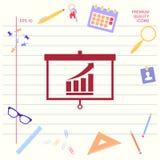 Projektorskärm med grafiska växande stänger Grafiska beståndsdelar för din design royaltyfria bilder