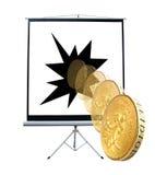 Projektorskärm som rullar det guld- myntet Royaltyfria Bilder