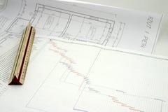 Projektplan mit Auslegung Stockfoto