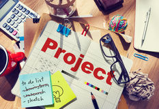 Projektplanoperation Job Strategy Venture Task Concept Royaltyfri Fotografi