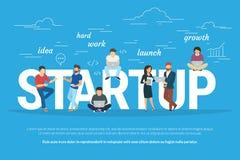 Projektstartkonzeptillustration von den Geschäftsleuten, die als Team zusammenarbeiten Stockfotos