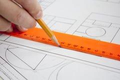 Projektteckning Fotografering för Bildbyråer
