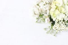 Projektująca akcyjna fotografia Dekoracyjny kwiecisty skład Dziki ślubu lub urodziny bukiet kwitnąć białego bzu, jabłko obraz stock