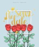 Projektuje ślubną pocztówkę z róża płatkami i kaligrafii gratulacje Obraz Stock