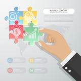 Projektuje 3d infographic szablon z 4 łamigłówką dla biznesowego concep ilustracja wektor