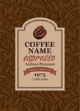 Projektuje etykietkę dla kawowych fasoli w retro stylu Obrazy Royalty Free