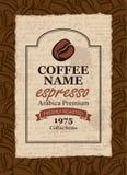 Projektuje etykietkę dla kawowych fasoli w retro stylu Obrazy Stock