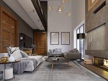 Projektuje mieszkanie w stylu loft z drugi poziomem TV teren z leżanką i kanapą ilustracji
