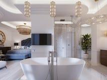 Projektuje mieszkanie z otwartych przestrzeni łazienkami w nowożytnym stylu i sypialniami ilustracji