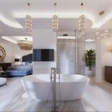 Projektuje mieszkanie z otwartych przestrzeni łazienkami w nowożytnym stylu i sypialniami ilustracja wektor