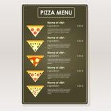 Projektuje próbki pizzy menu dla kawiarni, restauracje, bary Obrazy Stock