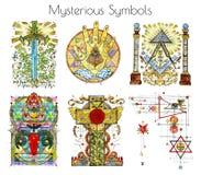 Projektuje set z akwareli ilustracjami tajemniczy i religijni symbole odizolowywający na bielu royalty ilustracja