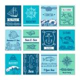 Projektuje szablon karty z morskimi symbolami w wektorowy czerstwym Nautyczne ilustracje z miejscem dla twój teksta Obrazy Stock