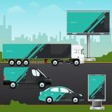 Projektuje szablonu pojazd, plenerową reklamę lub korporacyjną tożsamość, ilustracji