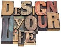 Projektuje twój życia słowa abstrakt w drewnianym typ fotografia royalty free