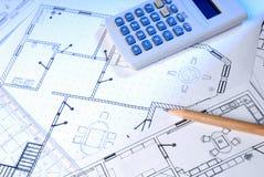 Projekty i kalkulator Obraz Stock