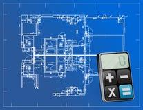 Projekty i nowożytny kalkulator ilustracja wektor