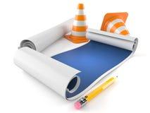 Projekty z ruchów drogowych rożkami ilustracja wektor
