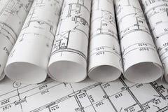 Projet architectural, modèles, blueprin photographie stock libre de droits