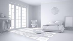 Projet blanc total de chambre à coucher moderne confortable avec le plancher de parquet en bois, la fenêtre panoramique, le tapis illustration stock