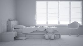 Projet blanc total de chambre à coucher moderne d'enfant avec le lit simple, les jouets et la fenêtre panoramique, intérieur cont photos stock