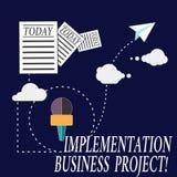 Projet d'affaires d'exécution d'apparence de signe des textes Processus conceptuel de photo d'exécuter une information de plan ou illustration libre de droits