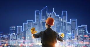 Projet d'aspiration d'homme de constructeur Media mélangé Photo stock